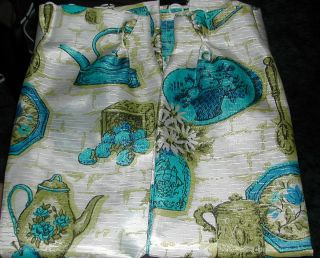 Vtg Retro Pr Kitchen Curtains Aqua Blue Olive Green Pinched Pleat