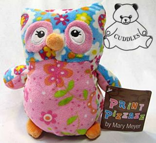 Olio Owl Bird Mary Meyer Plush Toy Stuffed Animal Flower Print Pizzaz