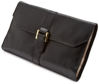 Designs Leatherette Black Gold Travel Jewelry Case Roll Purse Wallet