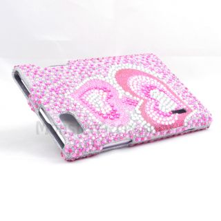 Pink Heart Bling Hard Cover Case for LG Intuition Optimus Vu VS950