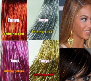 TOTAL 1200 strands 4 packs mixed hair tinsel bling hair extension
