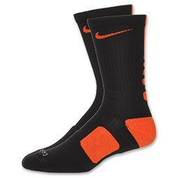 Mens Nike Elite Basketball Crew Socks Black Team Orange SX3693 089