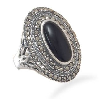 Sterling Silver Marcasite Black Onyx Oval Ring