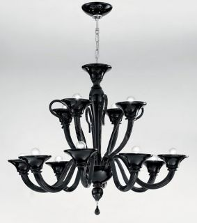 TOPDOMUS Murano Blown Glass Chandelier Black 8 4 Lights Directly from