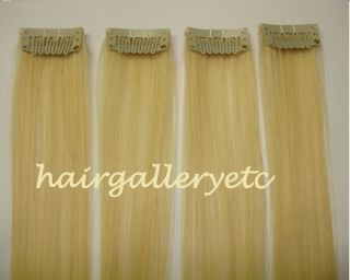 Blonde Clip in 100 Human Hair Extensions 4pcs European Silky Soft Hair