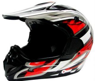 TMS Red Black Dirt Bike ATV Motocross Helmet Off Road M