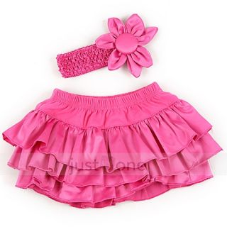 Baby Girls 3 Layers Ruffle Bloomers Nappy Cover Pant Skirt Flower