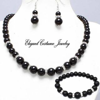 Bridesmaid Black Pearl Bracelet Necklace Set Elegant Chunky Jewelry