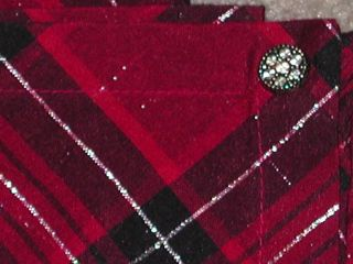 TARGET Red/Black/Silver Tartan Plaid Tablecloth 60 x 84   Christmas