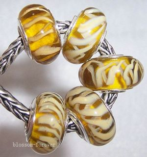 Yellow Murano Glass Beads Fit European Charm Bracelet A010