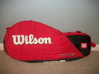 Red and Black Wilson Tour Double Tennis Racquet Bag Case