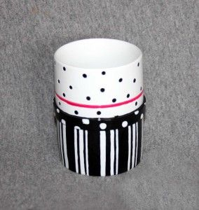 Chic Cosmo Polka Dots Stripes Black White Pink Tumbler