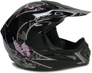 TMS Black Pink Butterfly Dirt Bike Off Road Motocross ATV MX Helmet L
