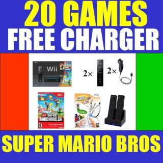 Nintendo Black Wii Console System w Game Charger Bundle