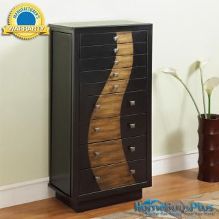 Powell Furniture Gloss Black Gold Jewelry Armoire Storage Chest