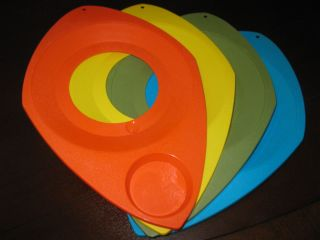 PLATE CUP HOLDERS SNACK TRAYS PLASTIC ORANGE AVOCADO YELLOW BLUE
