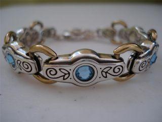 Stunning Two Tone  Celestial  Blue Crystal Link Bracelet