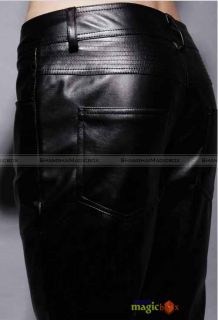 Fashion Faux Leather Slim Fit Trousers Pants Black New MPT046