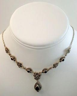Vintage Fine Jewelry Sterling Silver Black Onyx Marcasite Necklace