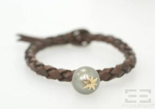 mizuki brown leather 14k gold black pearl bracelet