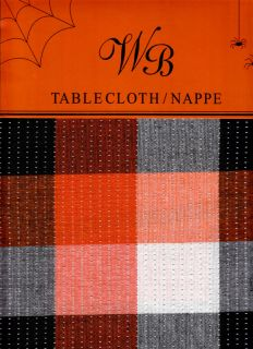 Orange Black White Silver Squares Cotton Fabric Tablecloth Dining New