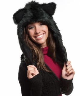 Black Wolf Plush Animal Hat Wolf Short Retail $33 99