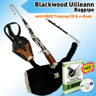 Irish Uilleann Bagpipe Half Set in African Blackwood Ebony Wood