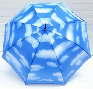 Blue sky and white clouds umbrella Girl s Parasol fashion long handle