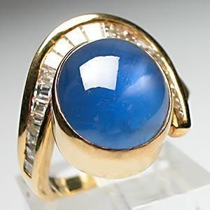 Estate Natural Blue Star Sapphire & Diamond Ring Solid 18K Gold Fine