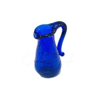 Dollhouse Miniature Blue Glass Water Pitcher for Kitchen Dining Room