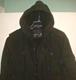 RARE Large New Express Hooded Heavy Military Jacket Coat Parka L Black