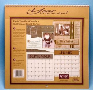 Blank Scrapbooking Wall Calendar Pages Kit 12 x 12