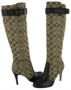COACH Blane $400 Womens Knee High Signature Fabric Leather Trim Boots