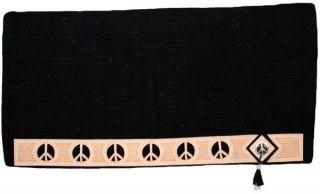 BLACK 36 x 34 New Zealand Wool Show Saddle Blanket w/ Peace Sign Cut