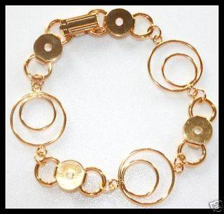Unique 2X Loops 24K Gold Plate Link Bracelet Blank Form