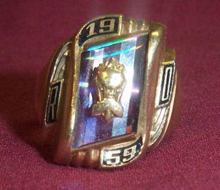 Very Nice Herff Jones Solid 10K Gold Mens HS Class Ring 1959 12 1