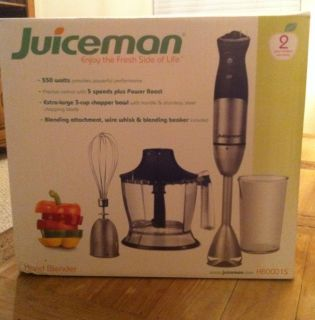 HB0001S Juiceman Stainless Steel Hand Blender and Accessories