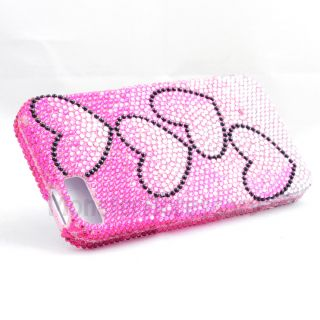 PINK HEART BLING HARD CASE COVER FOR APPLE IPHONE 5 5G 6TH GEN
