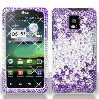 Purple Silver Crystal Bling Hard Case Phone Cover LG T Mobile G2X