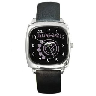 NEW* HOT BLINK 182 Square Metal Watch LeatherBand
