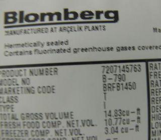 Blomberg BRFB1450L Left Hinge 14 7 CU ft Refrigerator