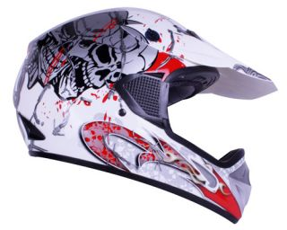 White Blood Skull Motocross ATV Dirt Bike Open Face Helmet DOT size S
