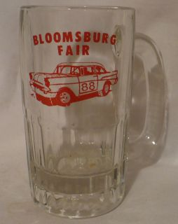 Vtg Souvenir Bloomsburg PA County Fair Stock Car Racing Glass Beer Mug