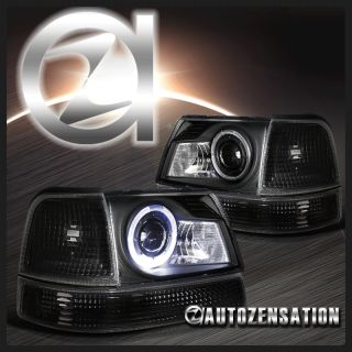 98 00 Ford Ranger Black Halo Projector Headlights Corner Bumper Lights
