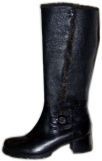 BLONDO black real Shearling fur lined tall knee Boot 9 W wide riding
