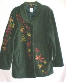 Bob Mackie Wearable Art Embroidered Green Fleece Coat Jacket M Medium