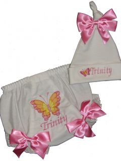 Personalized Baby Bloomers Diaper Cover Hat Butterfly