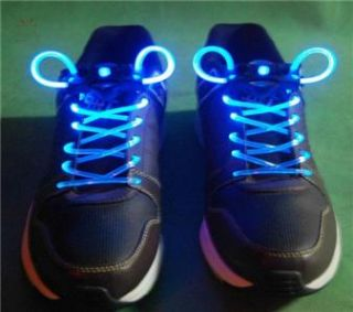 New Bright Blue Neon LED Light Up Shoe Laces Solid or Flashing Modes