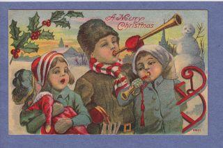 Vintage PC Children Blow Horns Doll Sled Snowman Winter Scene