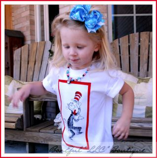 BonEful RTS Boutique Girl Boy 2 3 New Dr Seuss Cat in The Hat Top